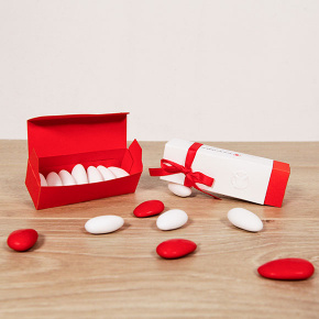 Scatolina fiammiferi bianca e rossa, regalo solidale in ambito Bomboniere solidali